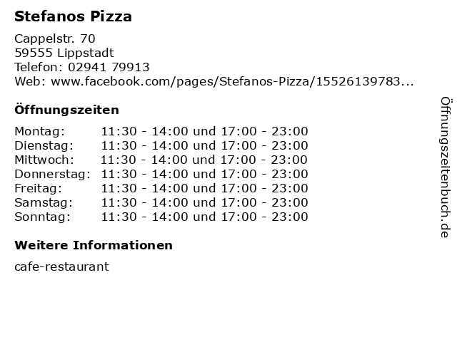 Stefanos Pizza in Lippstadt: Adresse und Öffnungszeiten