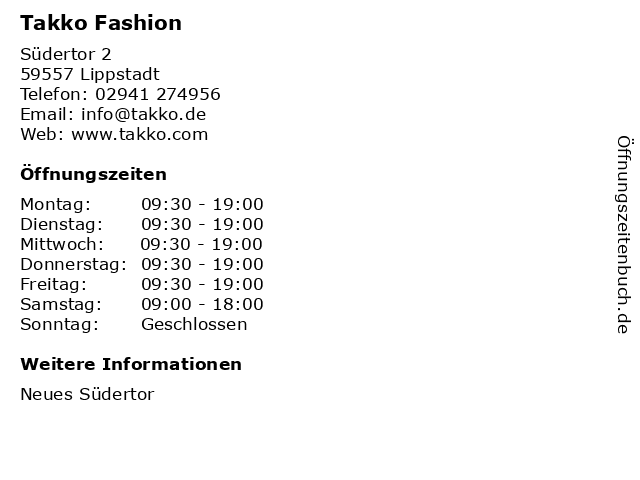 Takko Fashion in Lippstadt: Adresse und Öffnungszeiten