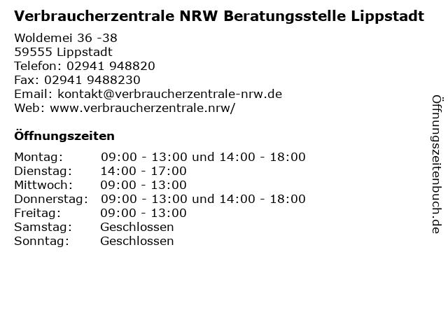 Verbraucherzentrale NRW Beratungsstelle Lippstadt in Lippstadt: Adresse und Öffnungszeiten