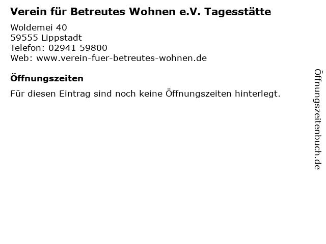 Verein für Betreutes Wohnen e.V. Tagesstätte in Lippstadt: Adresse und Öffnungszeiten