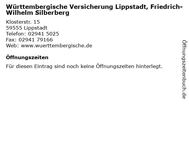 Württembergische Versicherung Lippstadt, Friedrich-Wilhelm Silberberg in Lippstadt: Adresse und Öffnungszeiten