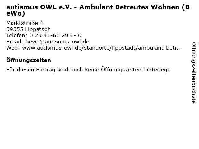 autismus OWL e.V. - Ambulant Betreutes Wohnen (BeWo) in Lippstadt: Adresse und Öffnungszeiten