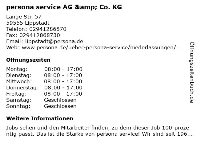 persona service AG & Co. KG in Lippstadt: Adresse und Öffnungszeiten