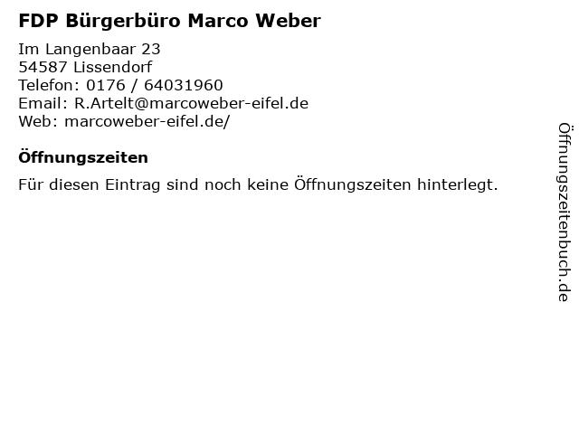 FDP Bürgerbüro Marco Weber in Lissendorf: Adresse und Öffnungszeiten