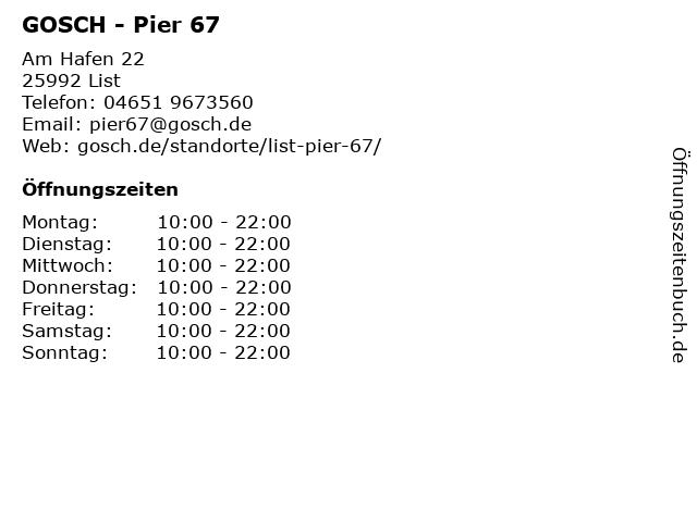 GOSCH Verwaltungs GmbH & Co. KG in List: Adresse und Öffnungszeiten