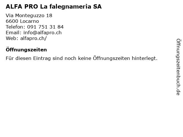 ALFA PRO La falegnameria SA in Locarno: Adresse und Öffnungszeiten