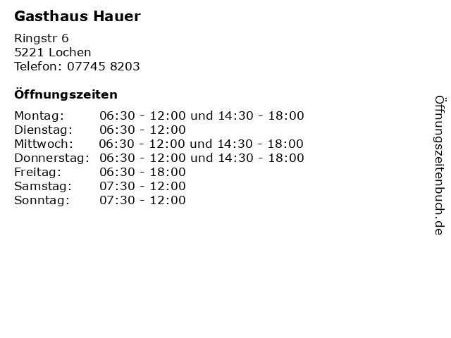 Gasthaus Hauer in Lochen: Adresse und Öffnungszeiten