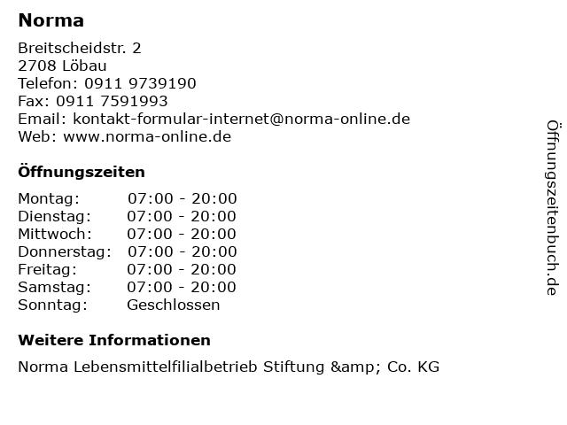 Norma Lebensmittelfilialbetrieb Stiftung & Co. KG in Löbau: Adresse und Öffnungszeiten