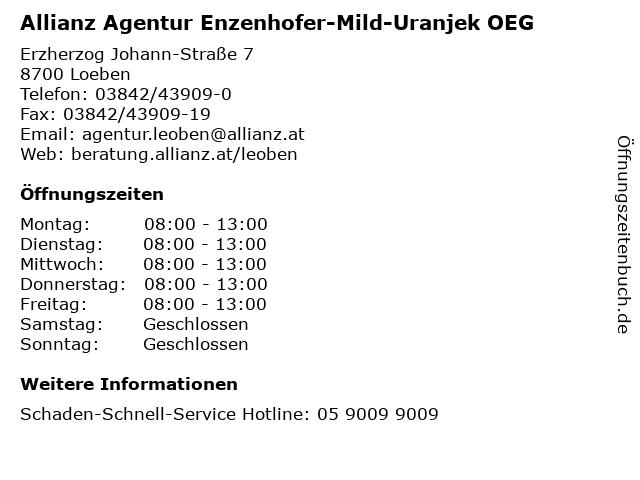 Allianz Agentur Enzenhofer-Mild-Uranjek OEG in Loeben: Adresse und Öffnungszeiten