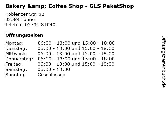 Bakery & Coffee Shop - GLS PaketShop in Löhne: Adresse und Öffnungszeiten