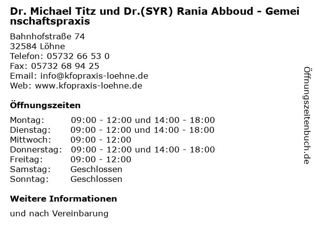 Dr. Michael Titz und Dr.(SYR) Rania Abboud - Gemeinschaftspraxis in Löhne: Adresse und Öffnungszeiten