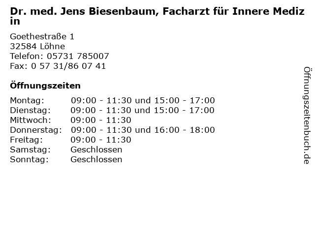 Dr. med. Jens Biesenbaum, Facharzt für Innere Medizin in Löhne: Adresse und Öffnungszeiten