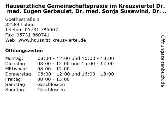 Hausärztliche Gemeinschaftspraxis im Kreuzviertel Dr. med. Eugen Gerbaulet, Dr. med. Sonja Susewind, Dr. med. Sylvia Tjan-Schäpsmeier in Löhne: Adresse und Öffnungszeiten