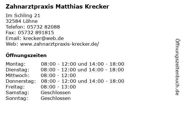 Zahnarztpraxis Matthias Krecker in Löhne: Adresse und Öffnungszeiten