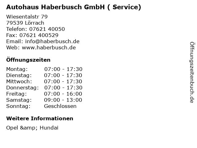 Autohaus Haberbusch GmbH ( Service) in Lörrach: Adresse und Öffnungszeiten