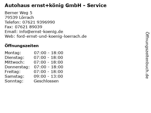 Autohaus ernst+könig GmbH - Service in Lörrach: Adresse und Öffnungszeiten