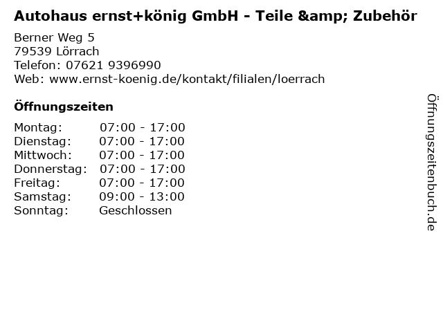 Autohaus ernst+könig GmbH - Teile & Zubehör in Lörrach: Adresse und Öffnungszeiten