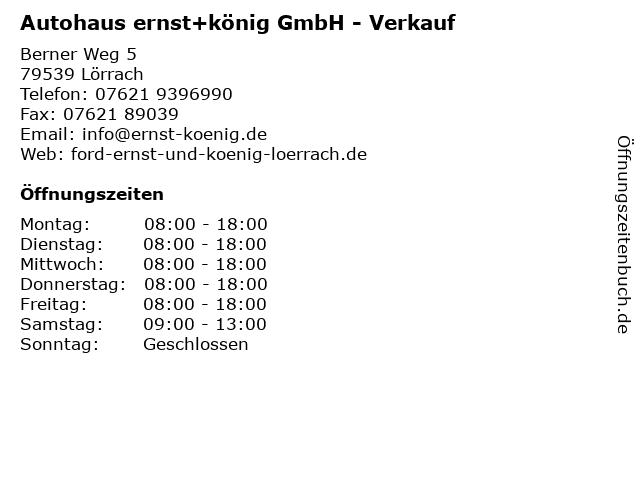 Autohaus ernst+könig GmbH - Verkauf in Lörrach: Adresse und Öffnungszeiten
