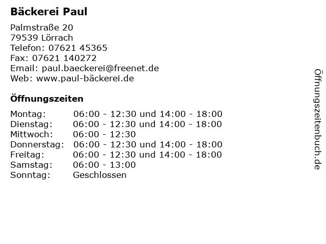 Bäckerei Paul in Lörrach: Adresse und Öffnungszeiten
