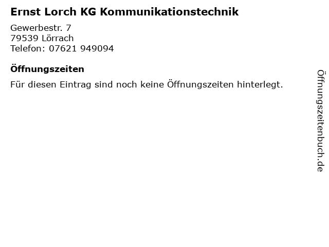 Ernst Lorch KG Kommunikationstechnik in Lörrach: Adresse und Öffnungszeiten