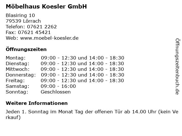 ᐅ öffnungszeiten Möbelhaus Koesler Gmbh Blasiring 10 In Lörrach