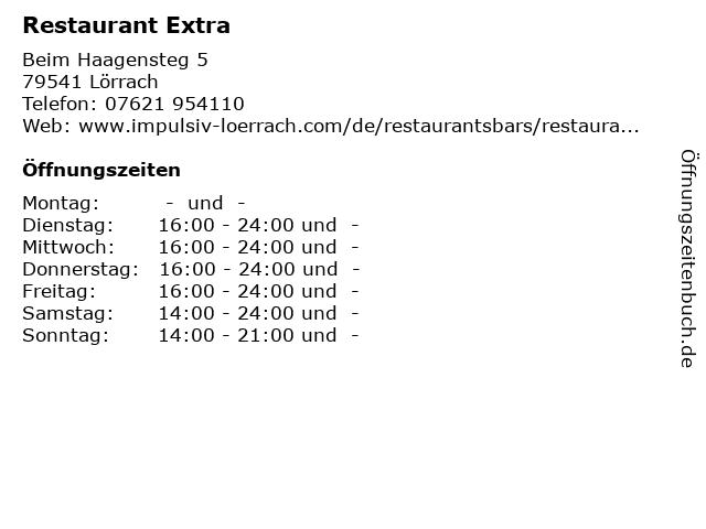 Restaurant Extra in Lörrach: Adresse und Öffnungszeiten