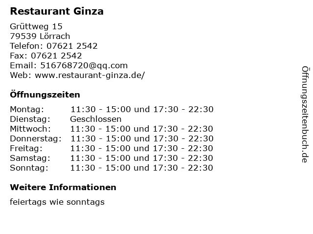 Restaurant Ginza in Lörrach: Adresse und Öffnungszeiten