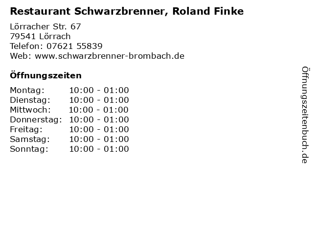 Restaurant Schwarzbrenner, Roland Finke in Lörrach: Adresse und Öffnungszeiten