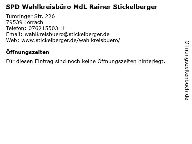 SPD Wahlkreisbüro MdL Rainer Stickelberger in Lörrach: Adresse und Öffnungszeiten