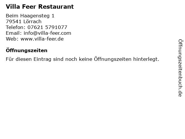 Villa Feer Restaurant in Lörrach: Adresse und Öffnungszeiten