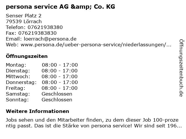 persona service AG & Co. KG in Lörrach: Adresse und Öffnungszeiten