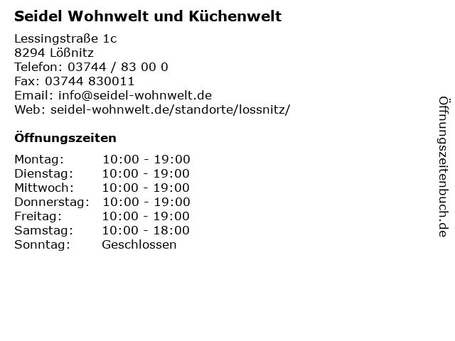 ᐅ öffnungszeiten Möbel Seidel Lessingstraße 1c In Lößnitz