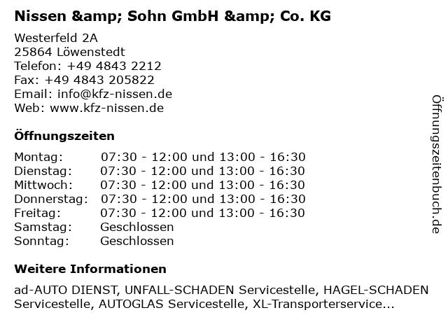 Nissen & Sohn GmbH & Co. KG in Löwenstedt: Adresse und Öffnungszeiten