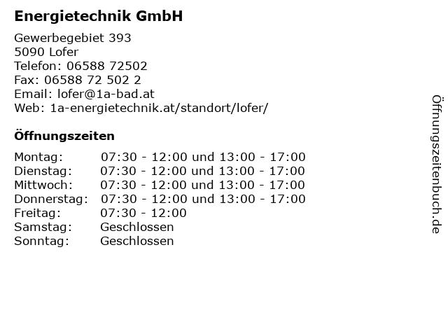 Energietechnik GmbH in Lofer: Adresse und Öffnungszeiten