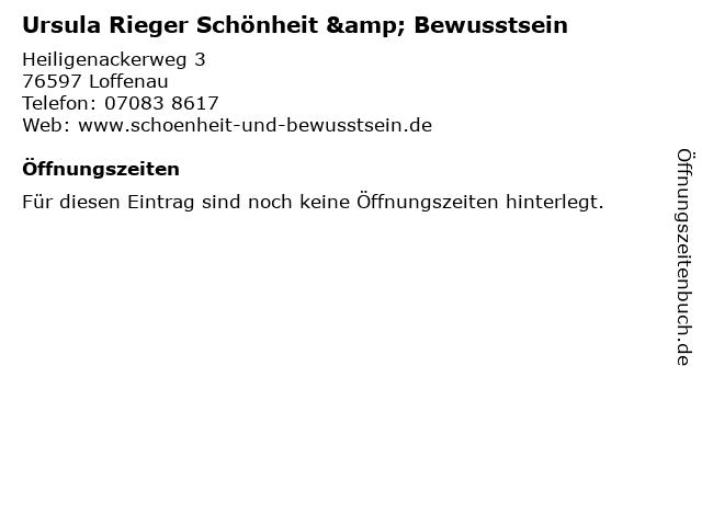 Ursula Rieger Schönheit & Bewusstsein in Loffenau: Adresse und Öffnungszeiten
