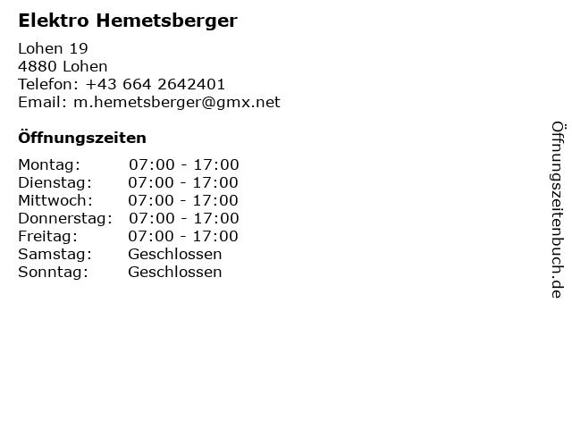 Elektro Hemetsberger in Lohen: Adresse und Öffnungszeiten