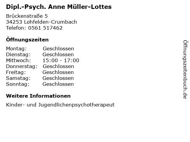 Dipl.-Psych. Anne Müller-Lottes in Lohfelden-Crumbach: Adresse und Öffnungszeiten