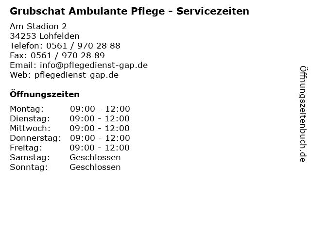 Grubschat Ambulante Pflege - Servicezeiten in Lohfelden: Adresse und Öffnungszeiten
