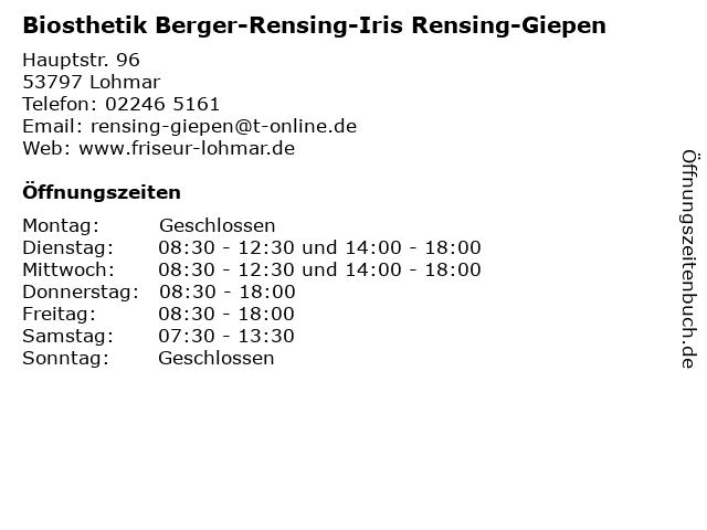 Biosthetik Berger-Rensing-Iris Rensing-Giepen in Lohmar: Adresse und Öffnungszeiten