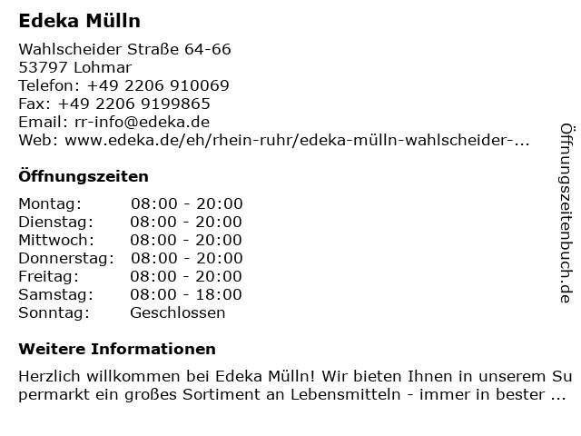 Edeka Mülln in Lohmar: Adresse und Öffnungszeiten