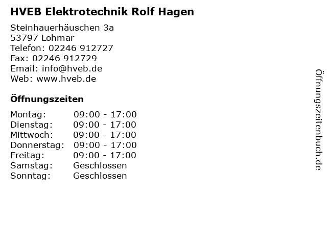 HVEB Elektrotechnik Rolf Hagen in Lohmar: Adresse und Öffnungszeiten