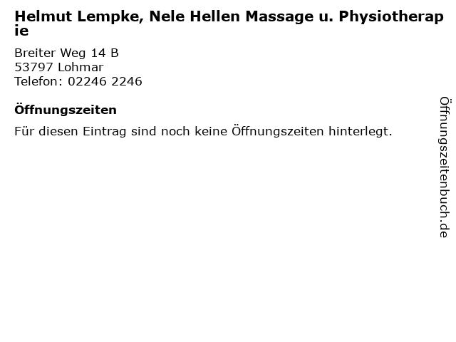 Helmut Lempke, Nele Hellen Massage u. Physiotherapie in Lohmar: Adresse und Öffnungszeiten