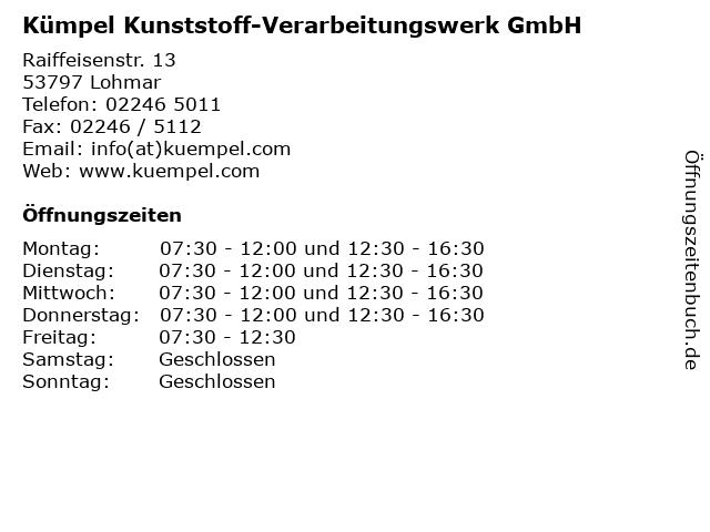 Kümpel Kunststoff-Verarbeitungswerk GmbH in Lohmar: Adresse und Öffnungszeiten