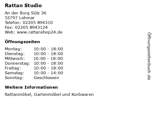 ᐅ öffnungszeiten Rattan Studio An Der Burg Sülz 36 In Lohmar