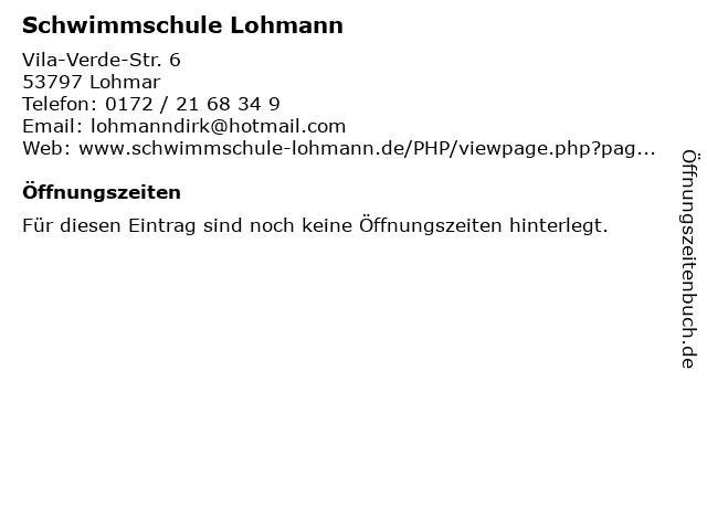 Schwimmschule Lohmann in Lohmar: Adresse und Öffnungszeiten