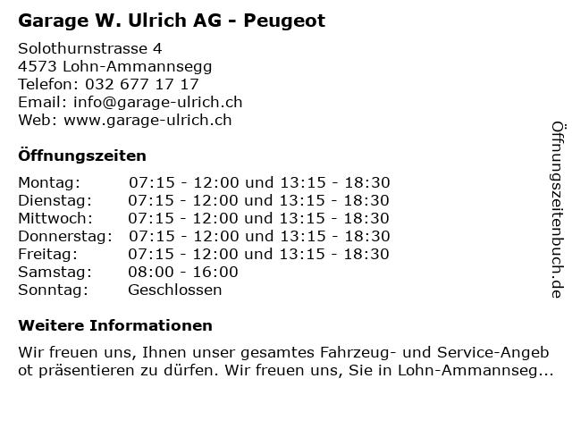 Garage W. Ulrich AG (Verkauf) in Lohn-Ammannsegg: Adresse und Öffnungszeiten