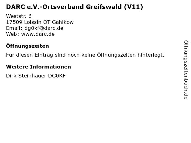 DARC e.V.-Ortsverband Greifswald (V11) in Loissin OT Gahlkow: Adresse und Öffnungszeiten