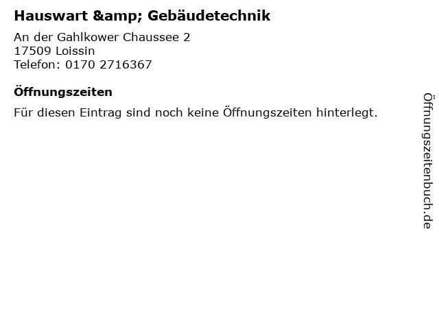 Hauswart & Gebäudetechnik in Loissin: Adresse und Öffnungszeiten