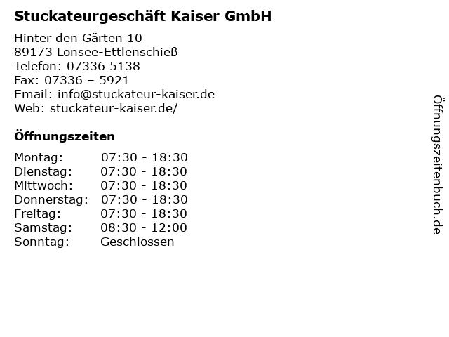 Stuckateurgeschäft Kaiser GmbH in Lonsee-Ettlenschieß: Adresse und Öffnungszeiten