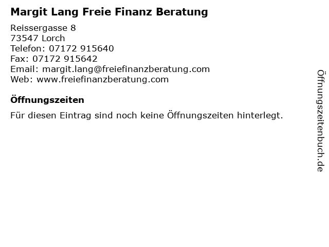 Margit Lang Freie Finanz Beratung in Lorch: Adresse und Öffnungszeiten